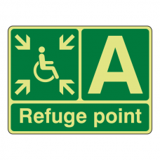Photoluminescent Refuge Point Sign with letter (landscape)
