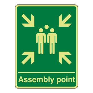 Photolunimescent Assembly Point Sign (Portrait)
