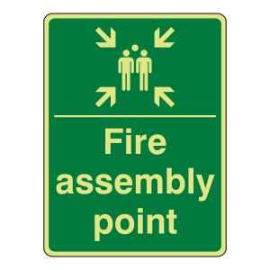 Photoluminescent Fire Assembly Point with Family Sign (Portrait)