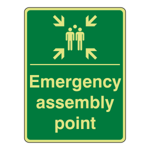 Photoluminescent Emergency Assembly Point Sign (Portrait)