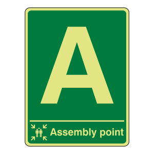 Photoluminescent Assembly Point Sign (Portrait)