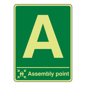 Photoluminescent Assembly Point Sign (Portrait)