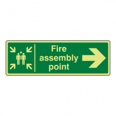 Photoluminescent Fire Assembly Point Arrow Right Sign