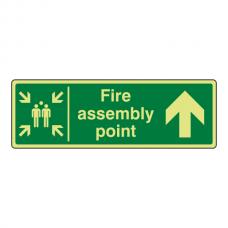 Photoluminescent Fire Assembly Point Arrow Up Sign