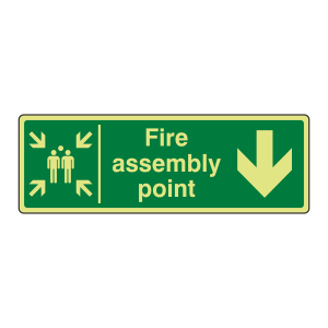 Photoluminescent Fire Assembly Point Arrow Down Sign