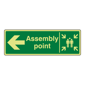 Photoluminescent Assembly Point Arrow Left Sign