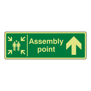 Photoluminecent Assembly Point Arrow Up Sign