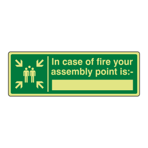 Photoluminescent In Case Of Fire Assembly Point Is Sign