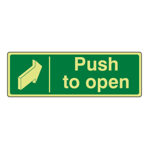 Photoluminescent Push To Open Sign