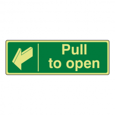Photoluminescent Pull To Open Sign