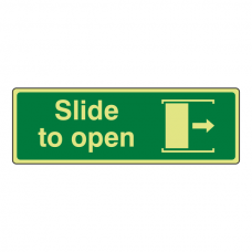 Photoluminescent Slide To Open Sign (right)