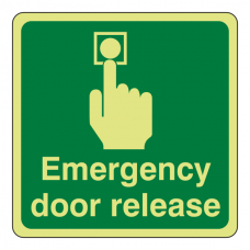 Photluminescent Emergency Door Release Sign