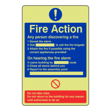 Photoluminescent Fire Action - Any Person Discovering A Fire Sign