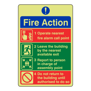 Photoluminescent 4 Point Fire Action Sign - Do Not Return To Building