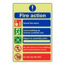 Photoluminescent 5 Point Fire Action Sign - Do Not Use Lifts