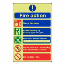 Photoluminescent 5 Point Fire Action Sign - Do Not Take Risks