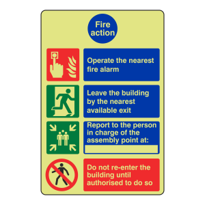 Photoluminescent 4 Point Fire Action Sign - Operate Nearest Fire Alarm