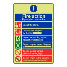 Photoluminescent 6 Point Fire Action Sign - If You Discover A Fire