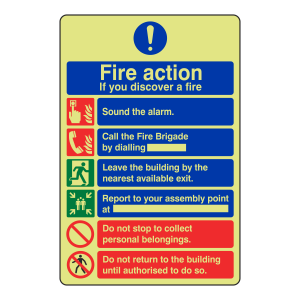 Photoluminescent General Fire Action Sign 8