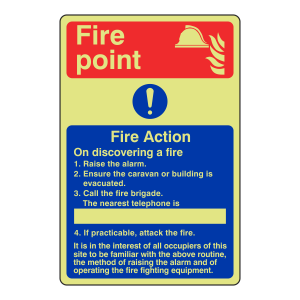 Photoluminescent Caravan Fire Action Sign 1