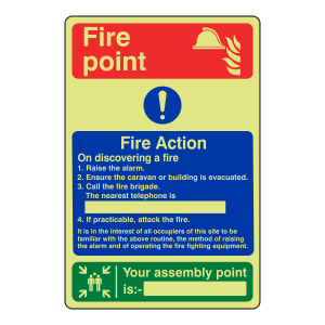 Photoluminescent Caravan Site Fire Action Sign / Your Nearest Assembly Point Is