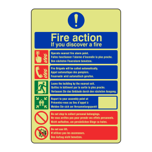 Photoluminescent Multilingual Fire Action Sign - Call Fire Brigade