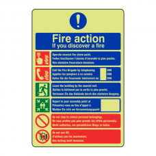 Photoluminescent Multilingual Fire Action Sign / If You Discover A Fire