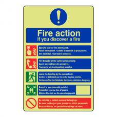 Photoluminescent Multi-Lingual Fire Action Sign