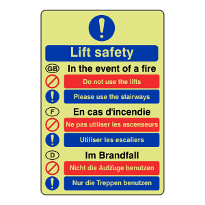 Photoluminescent Multilingual Fire Action - Lift Safety