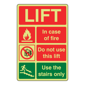 Photoluminescent Lift Fire Action Sign