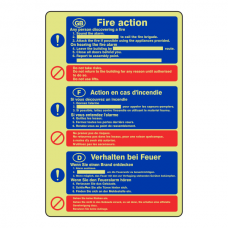 Photoluminescent Multilingual Fire Action Sign / 3 Language