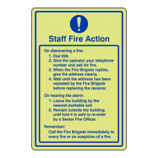 Photoluminescent Staff Fire Action Sign
