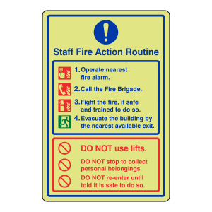 Photoluminescent Staff Fire Action Routine Sign