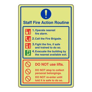 Photoluminescent Staff Fire Action Sign 2