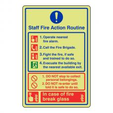 Photoluminescent Staff Fire Action Routine Sign / Break Glass