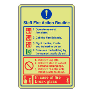 Photoluminescent Staff Fire Action Sign / Do Not Use lift