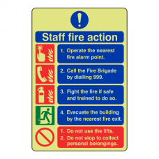 Photoluminescent 5 Point Staff Fire Action Sign - Do Not Use Lifts