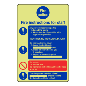 Photoluminescent Fire Action Sign - Fire Instructions For Staff