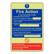 Photoluminescent General Fire Action Sign