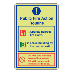 Photoluminescent Public Fire Action Routine Sign