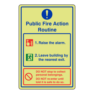 Photoluminescent Public Fire Action Routine Sign / Raise The Alarm