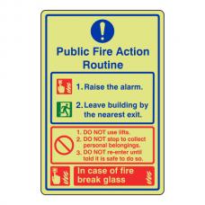 Photoluminescent Public Fire Action Routine Sign / Break Glass