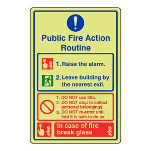 Photoluminescent Public Fire Action Routine Sign / Break Glass