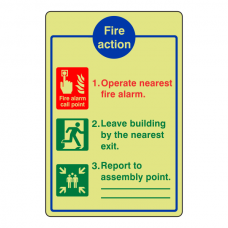 Photoluminescent 3 Point Fire Action Sign - Operate Nearest Fire Alarm