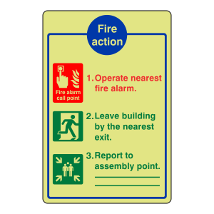 Photoluminescent General Fire Action Sign 11