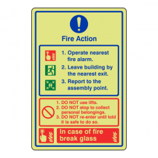 Photoluminescent General Fire Action Sign - In Case Of Fire Break Glass