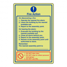 Photoluminescent Fire Action Sign / Do not use lifts