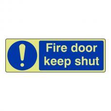 Photoluminescent Fire Door Keep Shut Sign (Landscape)