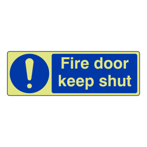Photoluminescent Fire Door Keep Shut Sign (Landscape)
