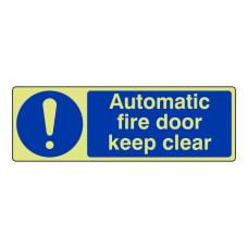 Photoluminescent Automatic Fire Door Keep Clear Sign (Landscape)